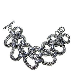 Jewelry - Silver Metal Curved Mesh Link Bracelet